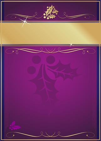adorned: Exotic Purple and Blue Holly and Flourish Adorned Christmas Card or Tag. Illustration