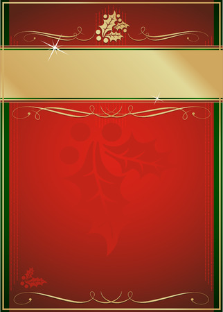 Exotic Red and Green Holly and Flourish Adorned Christmas Card or Tag.