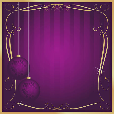 Ornate Purple Christmas Card or Tag with Ornament and Copy Room. Vector