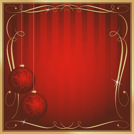 Ornate Red Christmas Card or Tag with Ornament and Copy Room. Vector