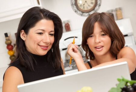 Attractive Hispanic Mother & Daughter in the Kitchen using the Laptop. photo