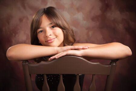 Pretty Hispanic Girl Studio Portrait Stock Photo - 5365907