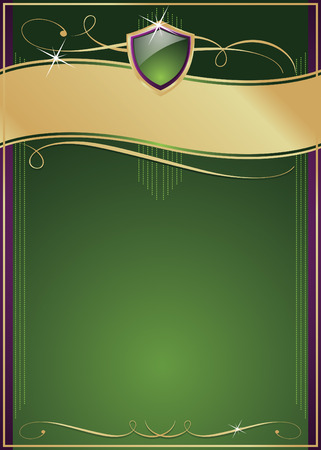 lustrous: Ornate Green, Purple & Gold pagina con scudo, Copy Space e svolazzi vari.