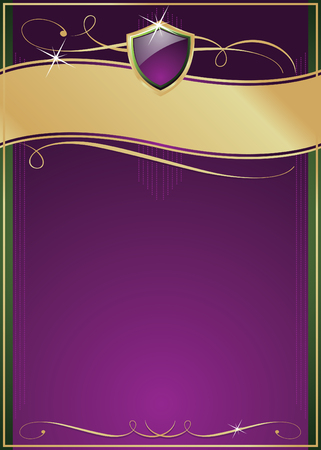 Ornate Purple, Green & Gold Page with Shield, Copy Space and Various Flourishes. Vector