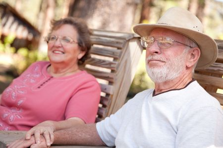 Loving Senior Couple Enjoying the Outdoors Together. Stock Photo - 5466706