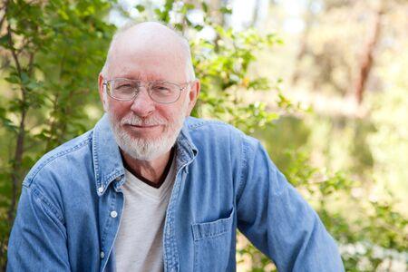 A Handsome Happy Senior Man Outdoor Portrait.
