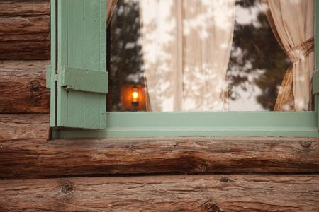 Classic Vintage Log Cabin Window Abstract with Lantern- Tallac Historic Site - Lake Tahoe, California.. photo