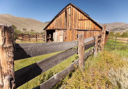 Classic Old Abandoned Barn and Fence Abstract. Stock Photo - 5466977