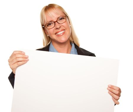 Attractive Blonde Holding Blank White Sign Isolated on a White Background. Stock Photo - 5620899