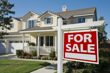 real estate house: Home For Sale Sign in Front of New House. Stock Photo