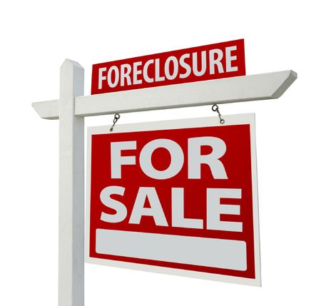 foreclosure: Foreclosure Home For Sale Real Estate Sign Isolated on a White Background. Stock Photo