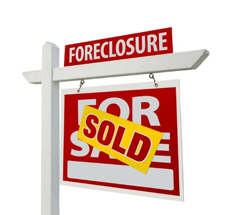 Sold Foreclosure Home For Sale Real Estate Sign Isolated on a White Background. photo