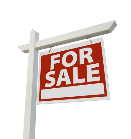 Te koop Vastgoed Meld Geïsoleerd op een witte achtergrond. Stockfoto