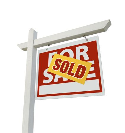 Sold Home For Sale Real Estate Sign Isolated on a White Background. photo