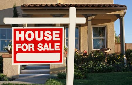 Home For Sale Sign in Front of New House Stock Photo - 5853548