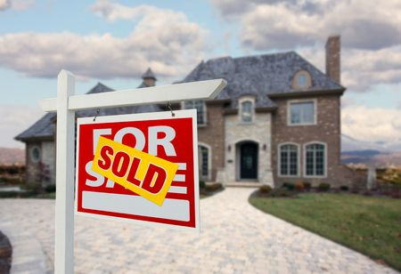 Sold Home For Sale Sign in Front of Beautiful New House. Stock Photo - 5853544