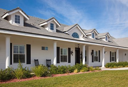 Beautiful House Facade Against a Blue Sky photo