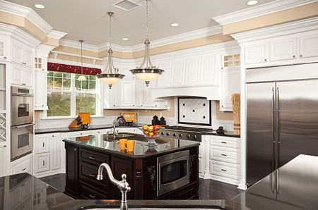 Beautiful Custom Kitchen Inter in a New House Stock Photo - 6001819