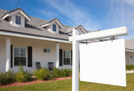 home insurance: Blank Real Estate Sign & New Home