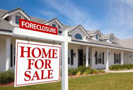 suburbia: Foreclosure Home For Sale Real Estate Sign in Front of New House Stock Photo