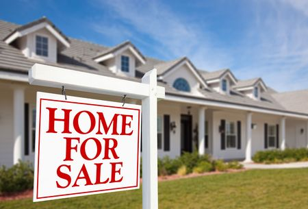 For Sale Real Estate Sign in Front of Beautiful New Home Stock Photo - 6028683