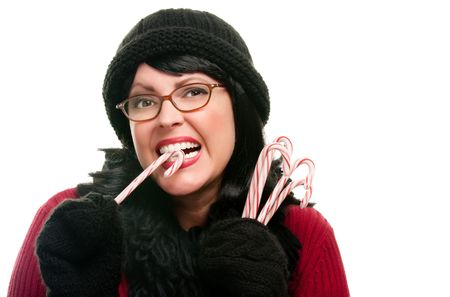 Pretty Woman Holding Candy Canes Isolated on a White Background. Stock Photo - 6098845