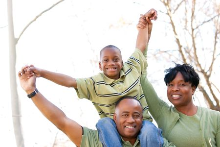 African American Family Having Fun in the Park. Stock Photo - 6098899