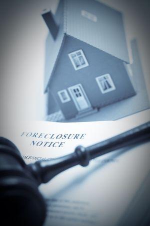 onestà: Comunicazione di esclusione, martello e due tonalit� di modello di casa con attenzione selettiva. Archivio Fotografico