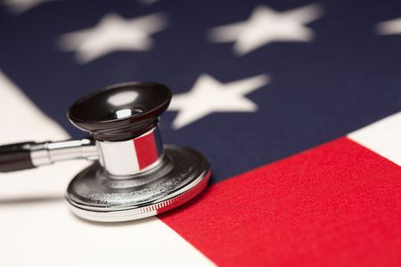 Stethoscope on American Flag with Selective Focus. photo