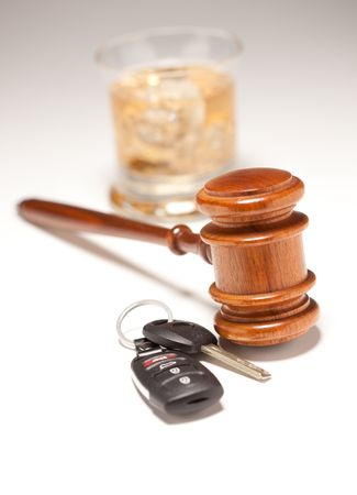 dui: Gavel, Alcoholic Drink & Car Keys on a Gradated Background - Drinking and Driving Concept.