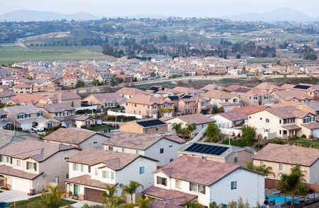 Contemporary Neighborhood Houses Roof Tops and Horizon View. Stock Photo - 6342484