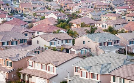 Contemporary Neighborhood Houses Roof Tops View. Stock Photo - 6342545