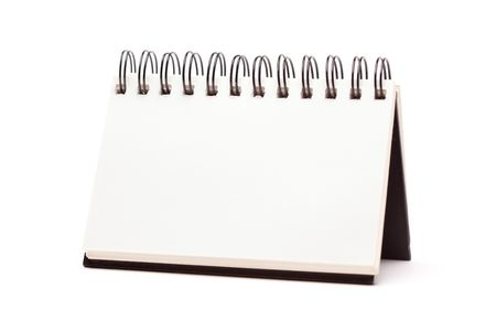 notebook: Blank Spiral Note Pad Standing Isolated on a White Background. Stock Photo