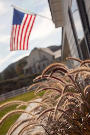 Modern Home Yard Abstract with American Flag. photo