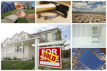 vendiendo: Collage de variedad tem�tica de construcci�n y bienes ra�ces.