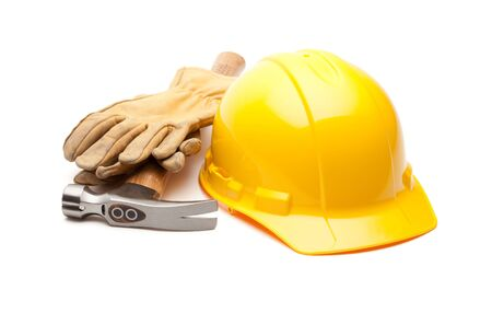 Yellow Hard Hat, Gloves and Hammer Isolated on White. Stock Photo - 6394865