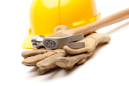 Yellow Hard Hat, Gloves and Hammer Isolated on White. Stock Photo - 6394867