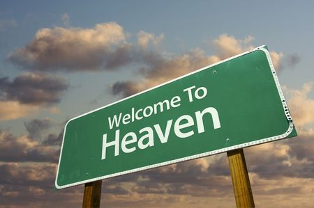 god in heaven: Welcome To Heaven Green Road Sign with dramatic clouds and sky.