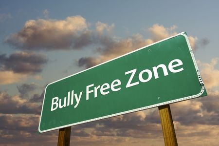 Bully Free Zone Green Road Sign In Front of Dramatic Clouds and Sky. Stock Photo - 6565903