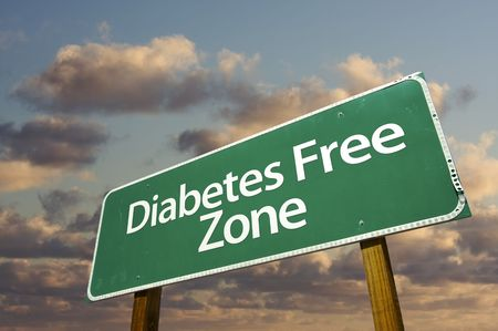 Diabetes Free Zone Green Road Sign In Front of Dramatic Clouds and Sky.