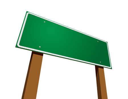 Blank Green Road Sign Isolated on White Stock Vector - 6568843
