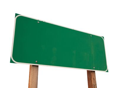 sign post: Blank Green Road Sign Isolated on a White Background - Ready for your own message. Stock Photo