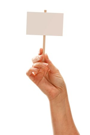 Woman Holding Blank White Sign Isolated on a White Background - Ready for Your Own Message. photo