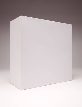 Blank White Box Isolated on a Grey Background Ready for Your Own Graphics. Banco de Imagens