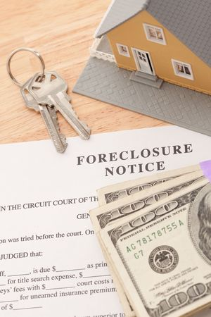 Foreclosure Notice, Home, House Keys and Stack of Money - Cash for Keys Program. photo