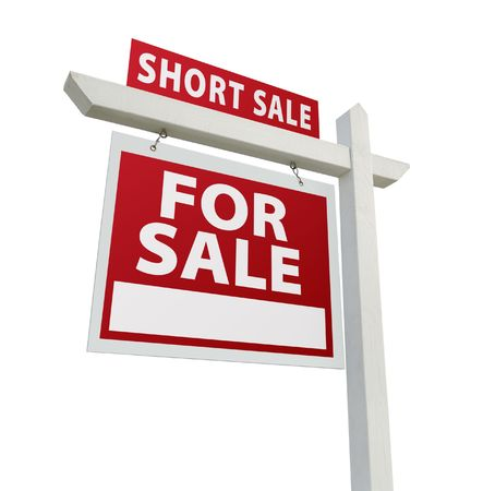short sale: Short Sale Real Estate Sign Isolated on White - Left Facing. Stock Photo