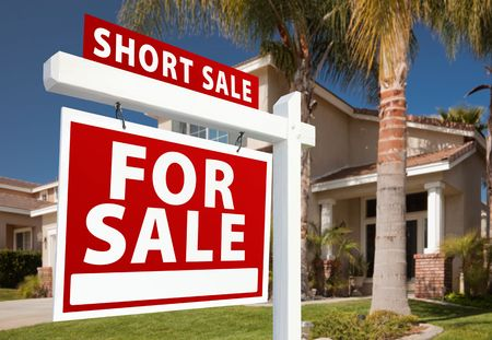 short sale: Short Sale Home For Sale Real Estate Sign and House - Left Side. Stock Photo