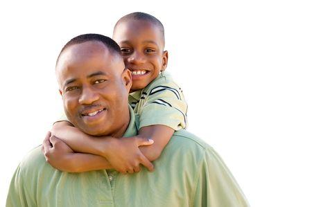 幸せなアフリカ系アメリカ人の男と白い背景で隔離の子。