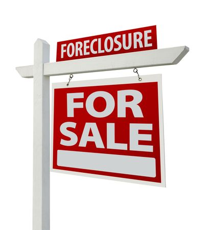 Foreclosure Home For Sale Real Estate Sign photo
