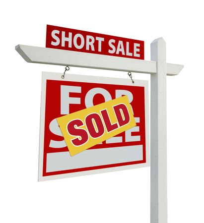Sold Short Sale Home For Sale Real Estate Sign  Stock Photo
